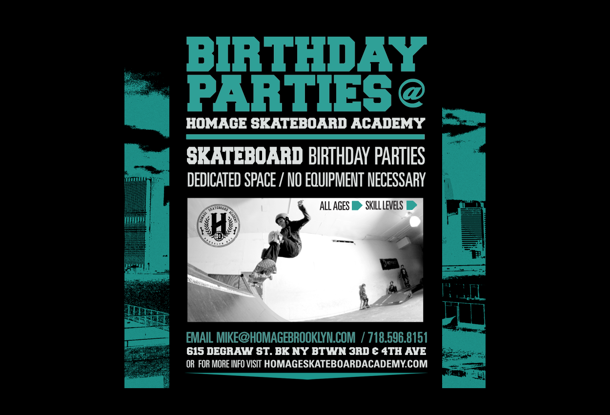 birthday parties homage skateboard academy